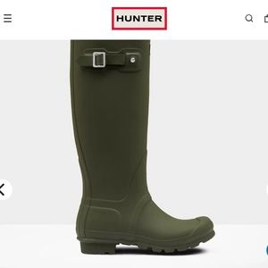 Hunter Original Tall Rain Boots Dark Olive Size 7